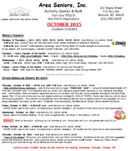 2015 10 October Calendar of Events