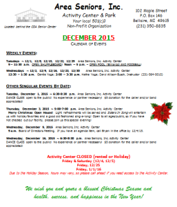 2015 12 December Calendar of Events