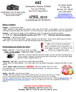 2016 4 April Calendar of Events